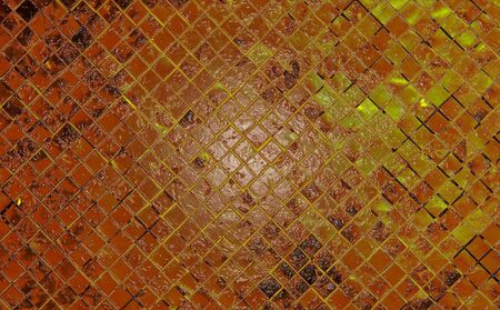 grunge yellow abstract background from tile mosaic photo
