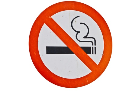 Symbol of No Smoking Zone Sign isolated on white backgrond  photo