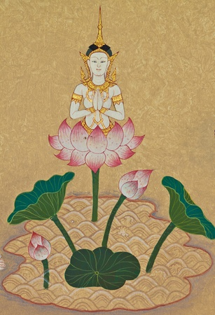 Goddesses in Buddhism,Traditional Thai style art painting on temple for background,  The site is open to the public and photography is permitted    photo