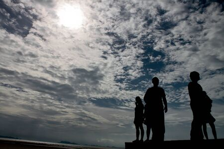 Sunlight sky nature white cloud blue sky background and people photo