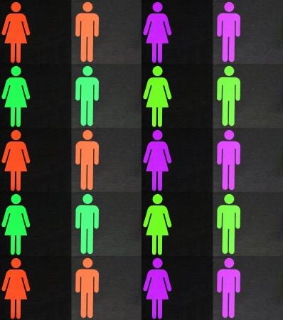 set of colorful male and female symbols photo