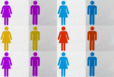set of colorful male and female symbols photo