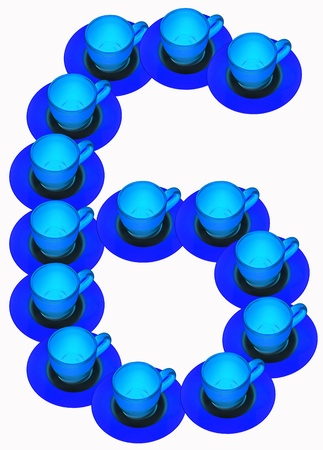 arabic number: arabic number made by cup and plate, number 6 Stock Photo