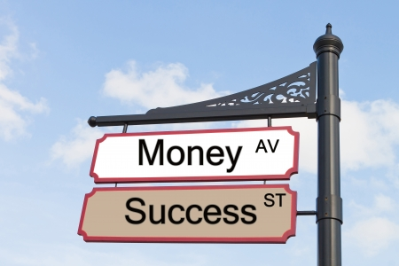Money and success text wood sign with blue sky as background