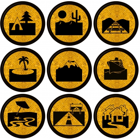 collection of travel symbols, trip, vocation and transport icons photo