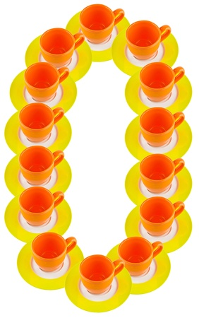 arabic numeral: arabic number made by cup and plate, number 0