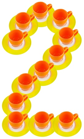arabic number: arabic number made by cup and plate, number 2