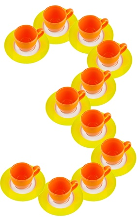 arabic number: arabic number made by cup and plate, number 3  Stock Photo