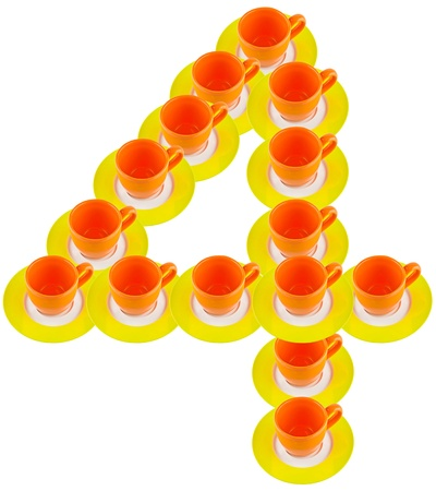 arabic number: arabic number made by cup and plate, number 4  Stock Photo