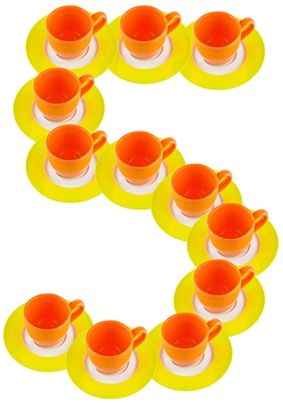 arabic number: arabic number made by cup and plate, number 5
