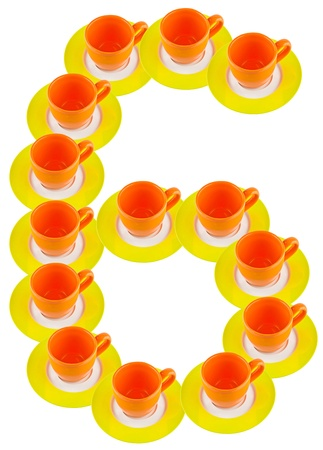 arabic number made by cup and plate, number 6  photo