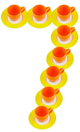 arabic number: arabic number made by cup and plate, number 7
