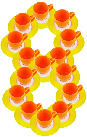 arabic number: arabic number made by cup and plate, number 8