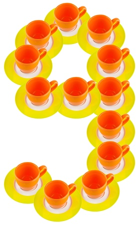 arabic number: arabic number made by cup and plate, number 9  Stock Photo