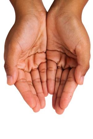 mains ouvertes: Mains donnant isol� sur fond blanc Banque d'images