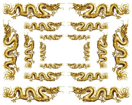 Golden dragon frame on white background Stock Photo - 15682826