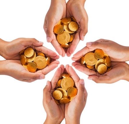 Hands with coins on white background photo