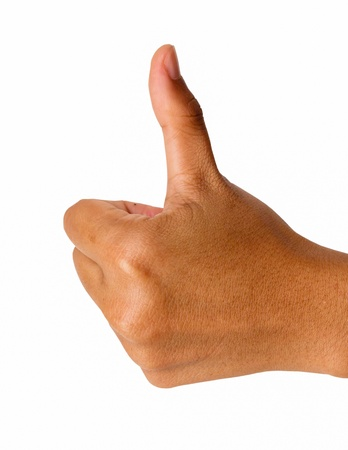 Closeup of female hand showing thumbs up sign against white background photo