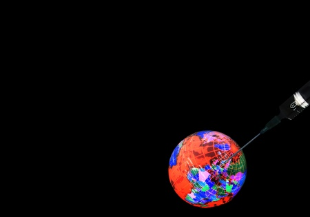 injection syringe globe  Taking care of Earth Stock Photo - 18267700