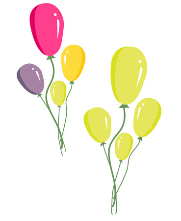 middle air: vector of set of colorful birthday or party balloons