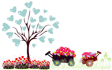 daisy wheel: Wheelbarrow full of flowers and tree with hearts