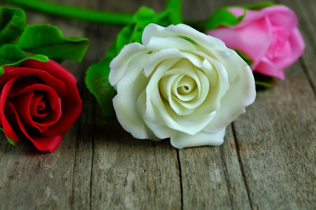 desing: Rose background concept on wood background, nature style and selective focus.