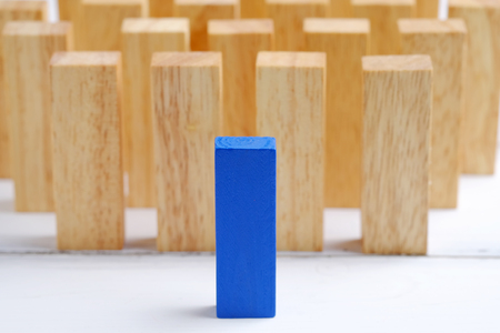 dominant: Blue one wooden block standing from other standing in row on white wood background. Business concept metaphor to leadership for survive. Selective focus dominant wooden block.