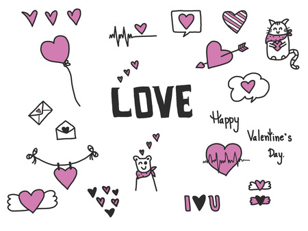 Hand drawn of Valentine doodle set on white background, vector illustration design, lots of cute design element. Stock Photo