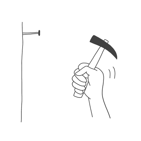 Hand drawn of Man hummers a nail into a wall, template construction work concept and holding a hummer in hand, vector illustration design. Standard-Bild - 105487151