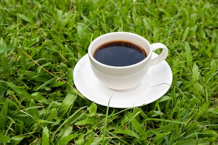 A cup of black coffee on the green grass lawn.