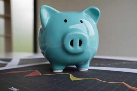 Blue piggy bank with stock graph, step up growing business to success and saving for retirement concept. Stockfoto