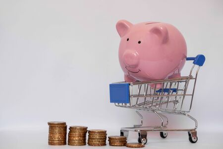 A piggy bank in a trolley with a coin on a white background to save the savings concept. Reklamní fotografie