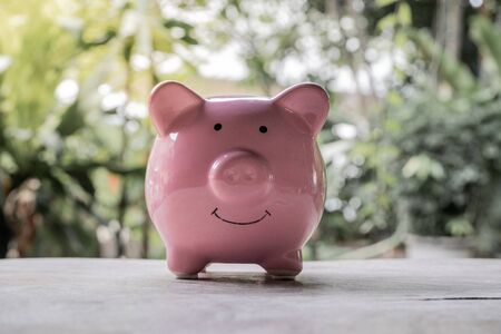 Pink piggy bank on wooden table with the natural background, step up growing business to success and saving for retirement concept Stock Photo