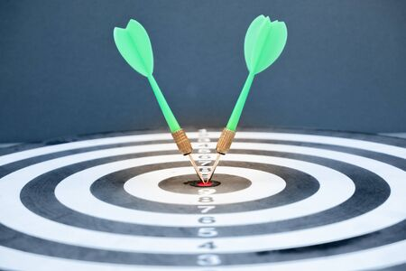 The arrow in the middle of the dartboard Demonstrate the concept of a successful business goal.