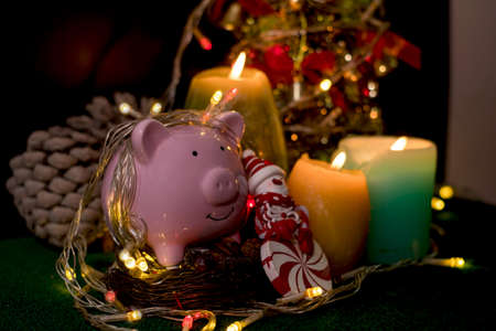 Piggy bank with party light, ready with candles, Christmas trees, and party lights for a luxurious party, new year's Eve atmosphere to welcome the new.