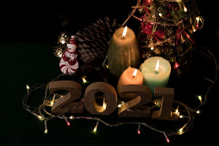 New Year's Eve, must accept the year 2021. ready with candles, Christmas trees, and party lights for a luxurious party, new year's Eve atmosphere to welcome the new.