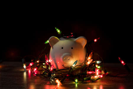 Piggy bank with party light, luxury organize a party for the event were successful in saving money for use in various festivals.