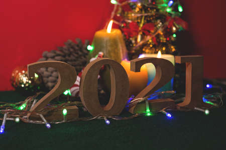 New Year's Eve, must accept the year 2021. ready with candles, Christmas trees, and party lights for a luxurious party, new year's Eve atmosphere to welcome the new. Stock fotó