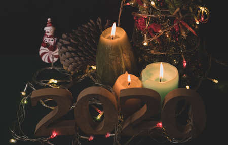 End of the year 2020 ready with candles, Christmas trees, and party lights for a luxurious party, new year's Eve atmosphere to welcome the new year 2021.