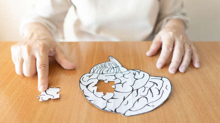 Elderly woman hands putting missing white jigsaw puzzle piece down into the place as a human brain shape. Creative idea for memory loss, dementia, Alzheimer's disease and mental health concept. Zdjęcie Seryjne