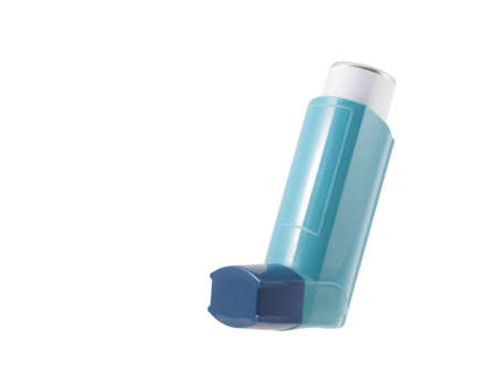 Blue asthma inhaler with blank label isolated on white background. Pharmaceutical product is used to treat or prevent asthma attack. Health and medical concept.