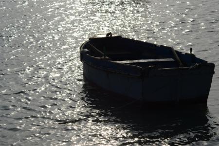 Barca a remi in controluce