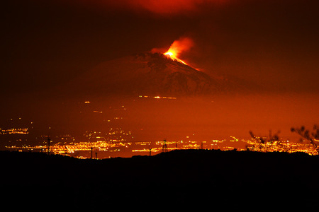 Etna erupting with lava emission