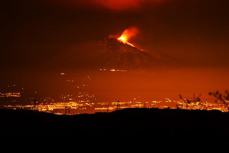 Etna erupting with lava emission