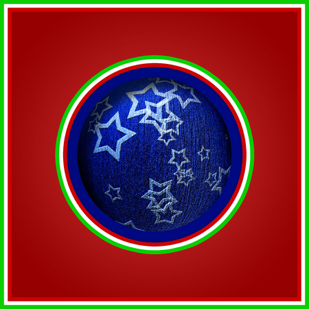 Christmas postcard with red ball of christmas blue colored stripes representing the flag of Italy Banco de Imagens