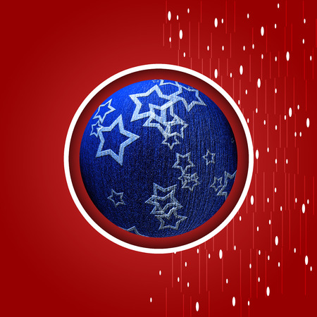 Red background with blue Christmas ball and snowflakes