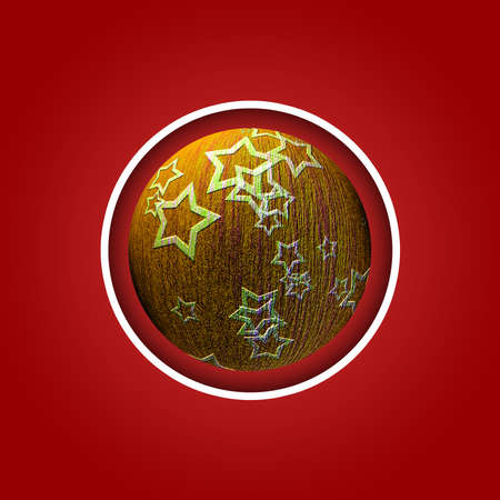 Christmas postcard with red ball christmas red Banco de Imagens