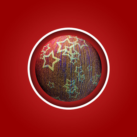 Red background with christmas ball with red stars photo