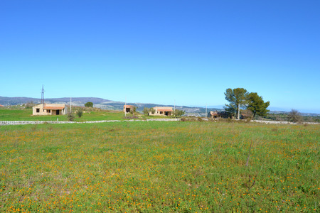 Meadow with abandoned homes