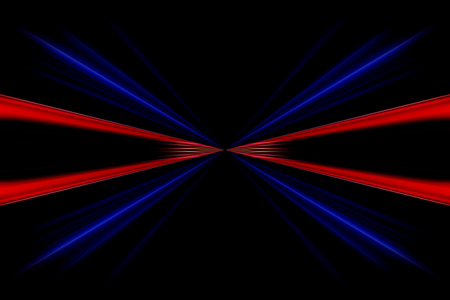 Endless red and blue lines on a black background.